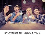 portrait of smiling friends... | Shutterstock . vector #300757478