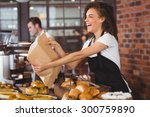 smiling waitress giving paper... | Shutterstock . vector #300759890
