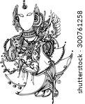 the zentangle vector of lotus... | Shutterstock .eps vector #300761258
