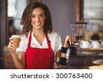 portrait of a waitress holding... | Shutterstock . vector #300763400