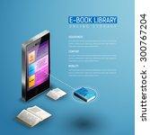 online mobile library modern... | Shutterstock .eps vector #300767204