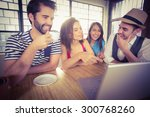 laughing friends drinking... | Shutterstock . vector #300768260