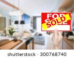 sold house sign  | Shutterstock . vector #300768740