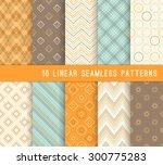 10 different linear seamless... | Shutterstock .eps vector #300775283