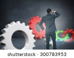 businessman standing hand on... | Shutterstock . vector #300783953
