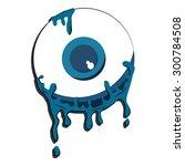 halloween blue color eyeball... | Shutterstock .eps vector #300784508