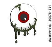 halloween green color eyeball... | Shutterstock .eps vector #300784514
