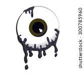 halloween grey color eyeball... | Shutterstock .eps vector #300785960