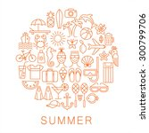 summer icons. linear style.... | Shutterstock .eps vector #300799706