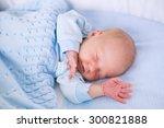 newborn baby boy in bed. new... | Shutterstock . vector #300821888