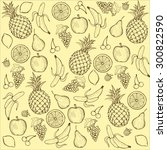 vintage fruit pattern on yellow ... | Shutterstock . vector #300822590