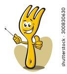 funny fork pointing | Shutterstock .eps vector #300830630