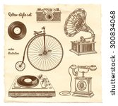 retro style set. vector... | Shutterstock .eps vector #300834068