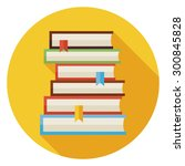 flat books with bookmarks... | Shutterstock .eps vector #300845828