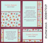 vector set of hand drawn floral ... | Shutterstock .eps vector #300847019