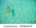 young girl snorkeling in... | Shutterstock . vector #300866690