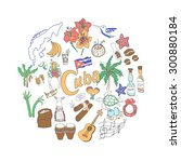 set of hand drawn cuba icons ... | Shutterstock .eps vector #300880184
