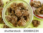 large glass jar and lid filled... | Shutterstock . vector #300884234