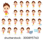 a set of boy with digital... | Shutterstock .eps vector #300895763