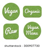 set of four decorative vegan ... | Shutterstock . vector #300907730