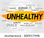 unhealthy word cloud  fast food ... | Shutterstock .eps vector #300917498