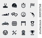 car race icons set. stopwatch... | Shutterstock . vector #300920768