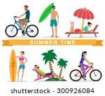 people relaxing during summer... | Shutterstock .eps vector #300926084