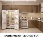 3d illustration of kitchen...   Shutterstock . vector #300931514