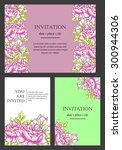 invitation with floral... | Shutterstock . vector #300944306
