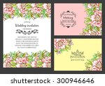 wedding invitation cards with... | Shutterstock . vector #300946646