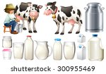 Dairy Products Set With Farmer...