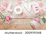 letter cookies for valentine's... | Shutterstock . vector #300959348
