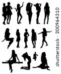 woman silhouettes | Shutterstock .eps vector #300964310