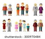 set of flat family. daddy and... | Shutterstock . vector #300970484