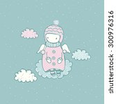 cute cartoon angel in the... | Shutterstock .eps vector #300976316