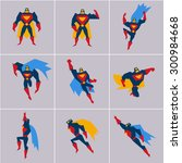 superhero in action. superhero... | Shutterstock .eps vector #300984668