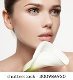 fresh clear healthy skin on the ... | Shutterstock . vector #300986930