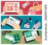 online shopping banners set... | Shutterstock .eps vector #300997490