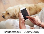 Stock photo close up of woman using smartphone at home 300998009