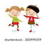 cute little girls | Shutterstock .eps vector #300999359