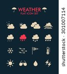 vector flat icon set   weather  | Shutterstock .eps vector #301007114