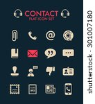 vector flat icon set   contact  | Shutterstock .eps vector #301007180