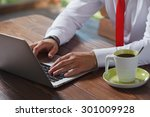 close up of a man working at a... | Shutterstock . vector #301009928