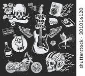 rock themed badges. vector | Shutterstock .eps vector #301016120