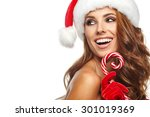 Beautiful Woman With Santa Hat...