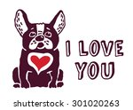 French Bulldog With Red Heart....