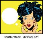retro pop art illustration of... | Shutterstock .eps vector #301021424
