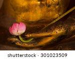 Lotus On Hand Golden Buddha...