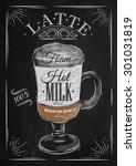 poster coffee latte in vintage...   Shutterstock .eps vector #301031819