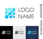 abstract molecule logo  the... | Shutterstock .eps vector #301034558